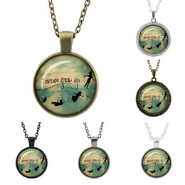 "peter pan jewelry pendant necklace Australia - Vintage charms Peter pan ""never grow up"" jewelry Cabochon sweater long paragraph Glass HD Photo Pendant Chain jewelry couple in Necklaces"