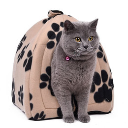 $enCountryForm.capitalKeyWord UK - Wholesale Price Cat House and Pet Beds 5 Colors Beige and Red Purple, Khaki, Black with Paw Stripe, White with Paw Stripe