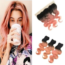 peruvian gold hair 2019 - Peruvian Pink Ombre Virgin Hair With Lace Frontal Closure 13x4 Body Wave 1B Rose Gold Two Tone Ombre Human Hair Bundles