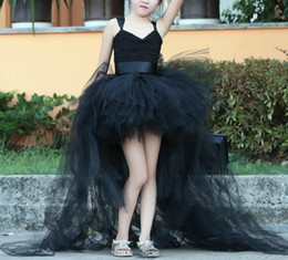 Robes De Bal Pour Les Tout-petits À Bas Prix Pas Cher-Beautiful Black High-low Flower Girl Dress Noir Toddler First Communion Dress Catwalk Kid Pageant Princess Pageant Prom Ball En Stock Pas cher