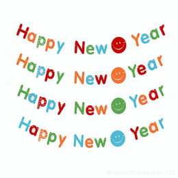 wholesale happy new year paperboard flag and banners party decoration 2016 fashion garland party eventparty supplies 5z