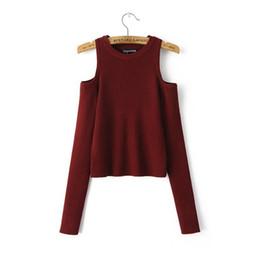 Горячие продажи сексуальные женщины с плеча с длинным рукавом вязаный свитер твердый тощий тонкий свитер бесплатная доставка на Распродаже