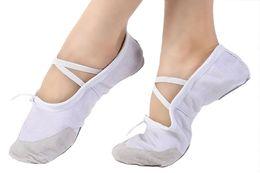 Soft Soled Shoes Australia - Girls Split-sole Canvas Ballet Shoes Leather Toe Ballroom Dance Flat Gymnastics Yoga Shoes Ballerina Practice Shoes with Elastic Band