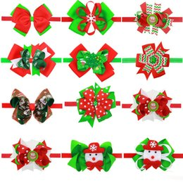 Cinta Para Las Niñas Baratos-Bandas para bebés Bow Girls Christmas Boutique Accesorios para el cabello Kids Flower Elastic Headband Niños Snowman Ribbon Bow Hairbands