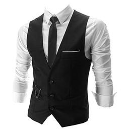 Discount waistcoat chain - Wholesale- Hemiks V-Neck Single Breasted Vest casual solid color Sleeveless Slim Fashion Men Waistcoat