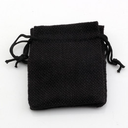 Discount linen jute bag - Hot ! 50pcs 10x14cm Black Linen Fabric Drawstring bags Candy Jewelry Gift Pouches Burlap Gift Jute bags