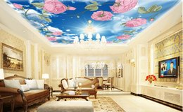 White 3d Rose Fabric NZ - custom 3d sky ceiling wallpaper Rose blue sky and white clouds 3d ceiling wallpaper living room landscape wall paper