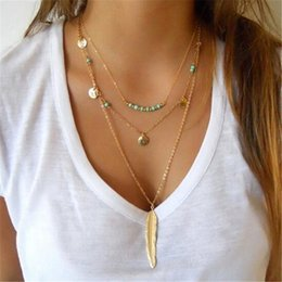 Snake Chain Jewellery Australia - Wholesale-Turquoise bead necklace chocker coin feather necklace women accessories jewlery 2016 gold chain multi layer necklace jewellery