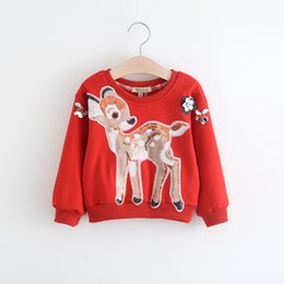 Barato Lantejoulas-New Christmas Sequin fawn floral Camisetas infantis manga comprida Meninas pullover Tops crianças Red Sweater bebê Hoodie Toddler Hoody A907