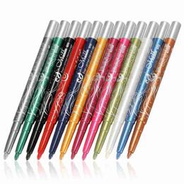 $enCountryForm.capitalKeyWord Canada - Wholesale-12 pc set Professional Glitter Eye Shadow Eyeliner Pen Waterproof Spin Colours Eyebrow Pencil Eye Liner Pen Line Cosmetic Makeup