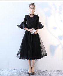 evening gowns for little girls 2019 - Stylish 2018 Little Black Dresses For Homecoming Party Half Sleeves V Neck Lace Tulle Girls Shot Cocktail Evening Gown c