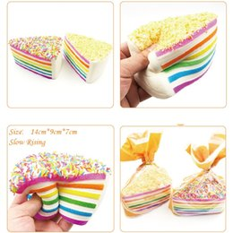 Wholesale New fashion Triangle Rainbow Cake Elastic simulated bread Wedding Photography supplies cute Cake Decoration Pendant IA706
