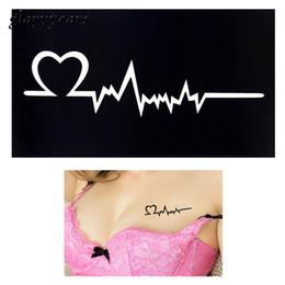 Drawing Women Tattoo Canada - Wholesale-2016 1pc Henna Tattoo Stencil Women Body Art Paint Heart Electrocardiogram Pattern Drawing Small Henna Template Tattoo Paste G91
