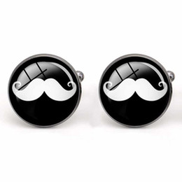 $enCountryForm.capitalKeyWord Canada - Cuff Link Men Shirt Glass Cabochon Cufflinks Moustache Party Shirt Accessories Copper Material Fashion Men's Charm Jewelry Wholesale