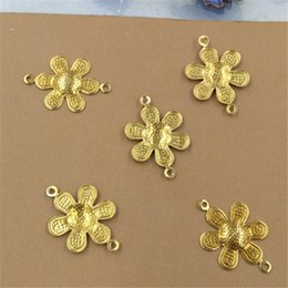 charms loops Australia - 200Pcs 2 Colors 12MM Sunflower Charms with 2 Loops Wholesale Brass Material Vintage DIY Jewelry Charms
