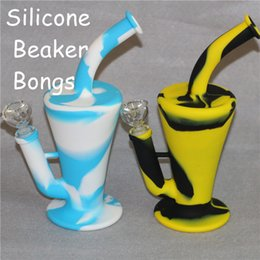 bongs for herb NZ - Portable Beaker Hookah Silicone Barrel Rigs for Smoking Dry Herb Unbreakable Water Percolator Bong Smoking Oil Concentrate Pipe DHL