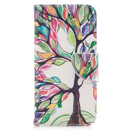 Wholesale Apple Trees UK - For iPhone X Cover Painted PU Leather Cases Flip wallet Card Stents holster Feather Colorful Leaves Tree Designer Phone Covers