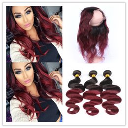 Ombre Lace Frontal Canada - Wine Red Ombre 360 Full Lace Frontal With Peruvian Hair #1B 99J Burgundy Red Ombre 3Bundles With Body Wave 360 Lace Band Closure
