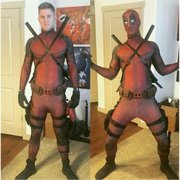 Barato Cosplay Apertado-Deadpool Cosplay Costume Homem Marvel Deadpool-Costumes Adulto Wade Wilson Spandex Lycra Nylon Zentai bodysuit Segundo Skin Tight