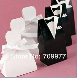 Wholesale 10 paires Wedding Favors Boîte cadeau en papier Groom Bride Wedding Party Candy Box Rouge