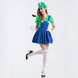 Costumes Mario Xl Pas Cher-1set Cosplay Mario vêtements Femme Robes sexy Anime jeux uniformes Halloween Costumes de Noël Super Mary Party Supplies