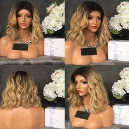 Discount ombre peruvian wavy hair - Lace Front Human Hair Bob Wigs wavy Ombre T1B 27 Peruvian Virgin Hair 180 Density With Baby Hair Bleached Knots Unproces