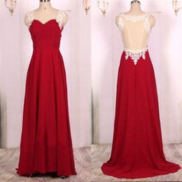 Barato Formals Vermelhos Baratos-Cheap Custom Made Prom Dresses Sweetheart Lace Appliques Straps Illusion Back Red Evening Dress Formal Party Gowns Sweep Train