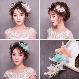 Smart Hair Canada - Woman headdress hair Lomen bride headdress feathers Korean smart floral handmade wedding flower hair 154074 immortal