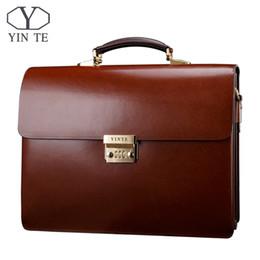 Discount thicker dress - Wholesale- YINTE Leather Men's Briefcase Leather Business Bag Men's Laptop Bag Lawyer Handbag Document Thicker