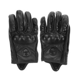 Short Motorcycle Leather Gloves NZ - Wholesale- Stylish Leather Motorcycle Gloves Protective Armor Short Gloves M L XL Full Finger Without Hole High Quality For Riding Sports