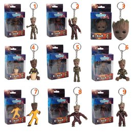 groot figure NZ - Anime Galaxy 2 Baby Groot PVC Figures with Keychain Pendants Collectible Model Toys 9 Style