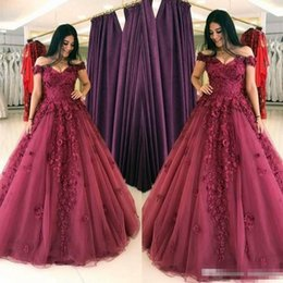 $enCountryForm.capitalKeyWord NZ - Off Shoulder Burgundy Lace A Line Formal Evening Dresses 2017 Plus Size Floor Long 3D Floral Prom Party Occasion Gowns Custom Made Cheap