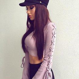 $enCountryForm.capitalKeyWord Canada - Women Crop Tops Autumn Long Sleeves Side Lace Up Party Tee Shirt Lady Harajuku Bandage Slim Tops Clubwear WS4008O