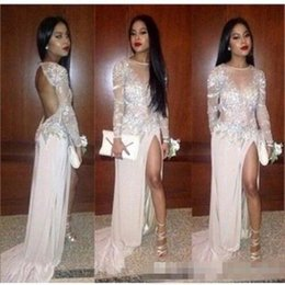 Sheer Front Prom Dress Canada - Sexy 2016 Mermaid Evening Dresses Lace Applique Sheer Jewel Neck Long Sleeves Backless Sweep Train High Split 2017 Formal Party Prom Gowns