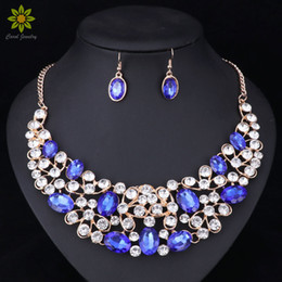 China New Design Gold Color Crystal Bridal Jewelry Sets Wedding Prom Party Dress Accessories Charms Jewellery Necklace Earring cheap south african dress designs suppliers