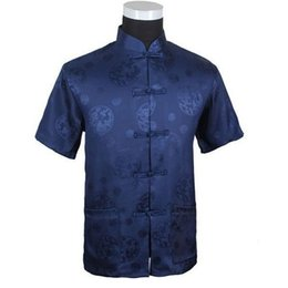 Wholesale- Dark Blue Summer Chinese Men s Silk Satin Kung-Fu Shirt Top with  Dragon Size S M L XL XXL XXXL Free Shipping M2066  b0dc2c63b