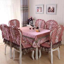 European Style Lace Floral Printing Red Rectangle Tablecloth Set Suit Table  Cloth Matching Chair Cover Free Ship