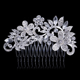 Barato Clipes De Flores Por Atacado Para Cabelo-Sparkly Crystal Flower Hair Comb 11 * 7CM Rhinestone Hairpins Bridal Wedding Hair Accessories Jóias Austrian Crystals Hair Clips Atacado