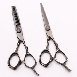 "Barber Thinning Shears Australia - C9001 6"" JP 440C Customize Logo Laser Hot Sell Black Professional Human Hair Scissors Barbers' Hairdressing Scissors Cutting Thinning Shears"