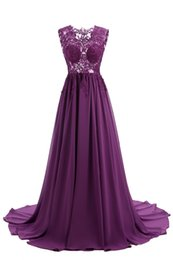 see dress red carpet UK - Prom Dresses 2017 Abiti Da Cerimonia Donna V-Neck See Through Purple Chiffon Long Evening Dresses Cheap