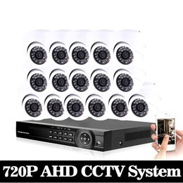 16ch Dvr Security System Canada - AHD CCTV System 16CH DVR Kit 16 Channel 1080P DVR With IR Day Night 2000TVL Security Dome CCTV Camera Video Surveillance System