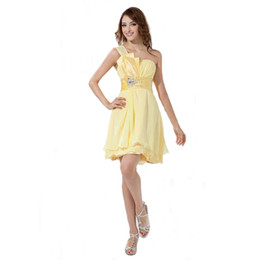 $enCountryForm.capitalKeyWord UK - Misswedding Pretty Ladies One Shoulder Yellow Party Dress New Brand Promotion Design Style Beaded Short Dress