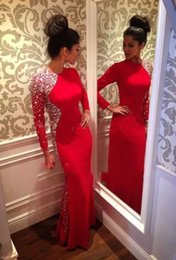 Wholesale champagne gold maxi dress resale online – Vestidos Charming Maxi Prom Dresses Sexy Mermaid Crystals Beaded Long Sleeve Red Evening Gowns Women Pageant Dress