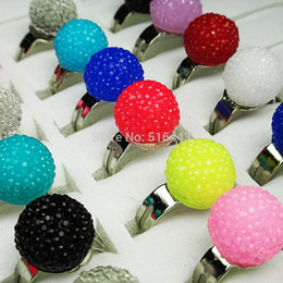 $enCountryForm.capitalKeyWord Canada - Loverly 100pcs Mix Color 10M Resin Acrylic Ball Children Rings Wholesale Jewelry Lots Free Shipping A472