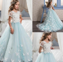 $enCountryForm.capitalKeyWord NZ - Pretty Lace Little Bride Flower Girl Dresses Short Sleeves With Cute Butterfly Sweep Train 2017 Kids Glitz Pageant Prom Party Gowns