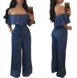 Barato Calça De Ruffle Larga-Calças de ganga Denim Jumpsuit para mulheres Backless Off Shouder Ruffle Tops + Wide Leg Calças compridas / Blue S-XL / Atacado Cheap DHL Fast Shipping