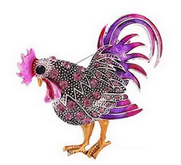 China Wholesale- 2pcs lot Vintage Rooster Brooch Mix Color Austria Crystal Rhinestone Brooches Animal Brooches for Women Fashion Pink Jewelry cheap jewelry 2pcs suppliers