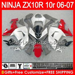 Red White Kawasaki Canada - 8Gifts 23Colors Body For KAWASAKI NINJA ZX 10 R ZX10R 06 07 04 05 39NO30 ZX 10R white red ZX1000 C ZX1000C 06 ZX-10R 2006 2007 Fairing kit