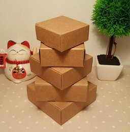 China Size:6*6.6*2.5cm Kraft Paper Folding Paper Jewelry box,Brown Blank Paper Gift Box,Paper Handmade Soap Box 100pcs lot suppliers