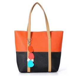 cheap small tote bags UK - Newest Design Fashion Shoulder Bags Leather Two-tone Handbags For Women,PU Leather Peach Lady Heart Pendants Totes Cheap Women